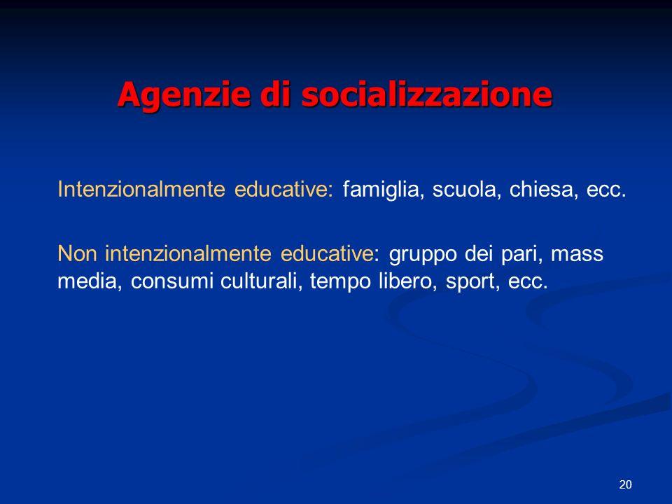 20 Agenzie di socializzazione Intenzionalmente educative: famiglia, scuola, chiesa, ecc. Non intenzionalmente educative: gruppo dei pari, mass media,