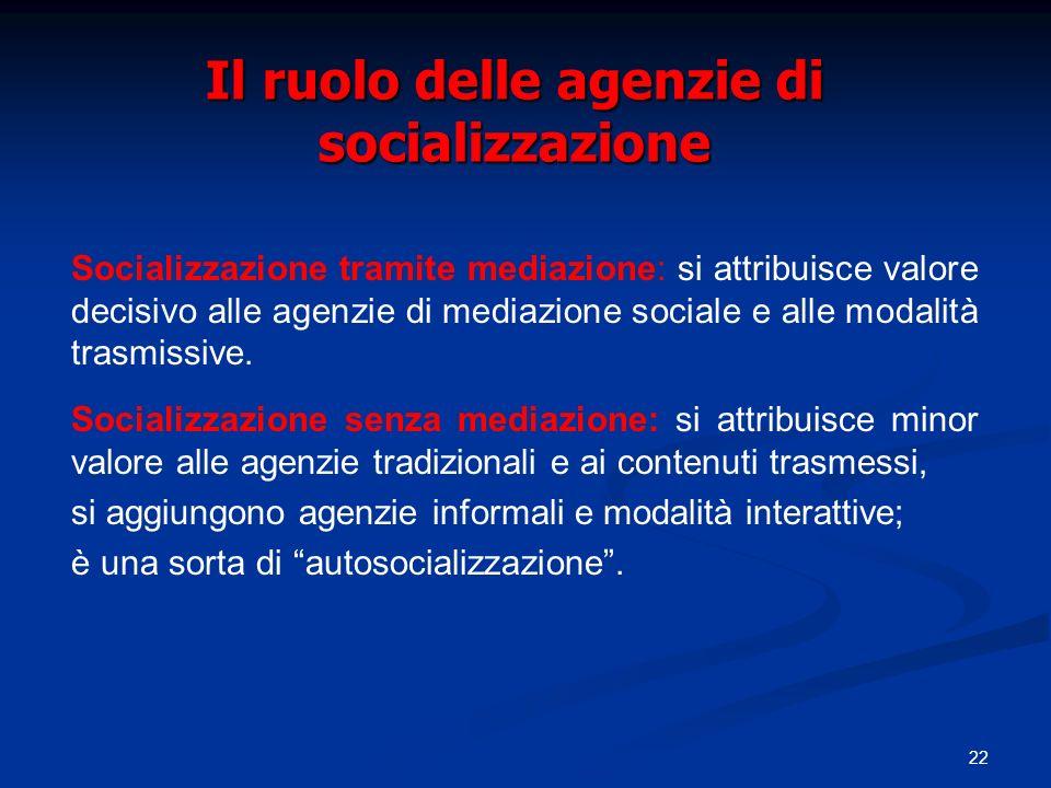 22 Il ruolo delle agenzie di socializzazione Socializzazione tramite mediazione: si attribuisce valore decisivo alle agenzie di mediazione sociale e a