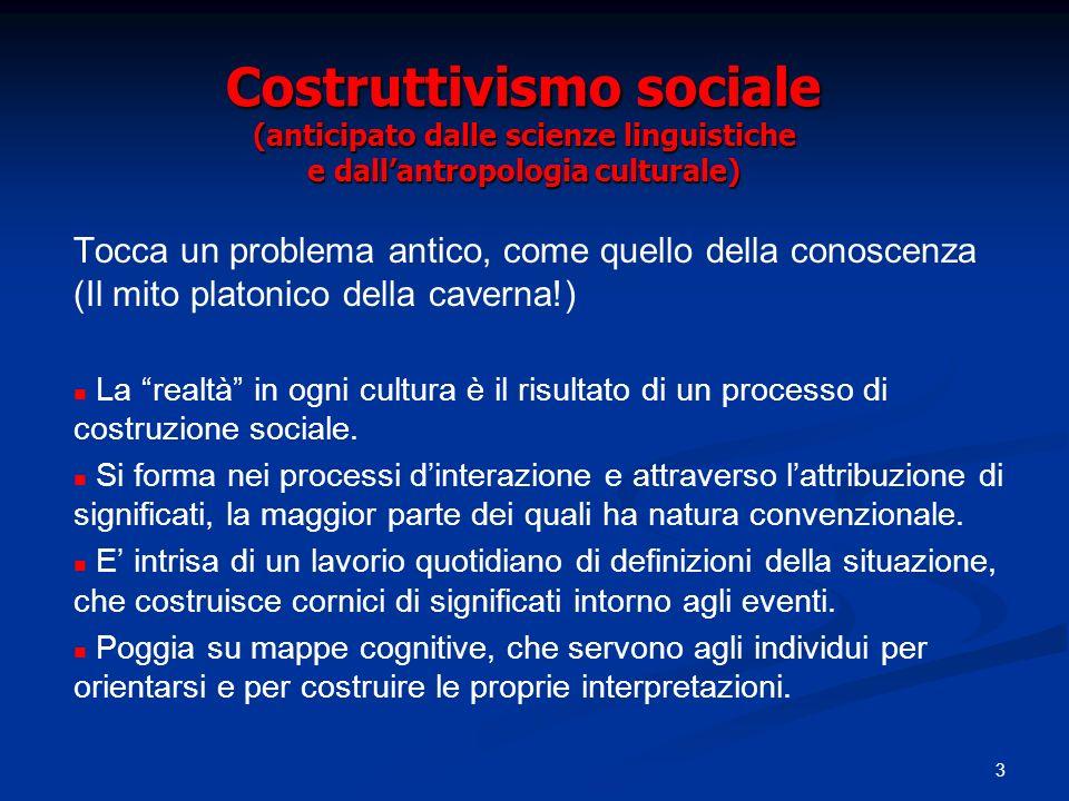 3 Costruttivismo sociale (anticipato dalle scienze linguistiche e dallantropologia culturale) Tocca un problema antico, come quello della conoscenza (