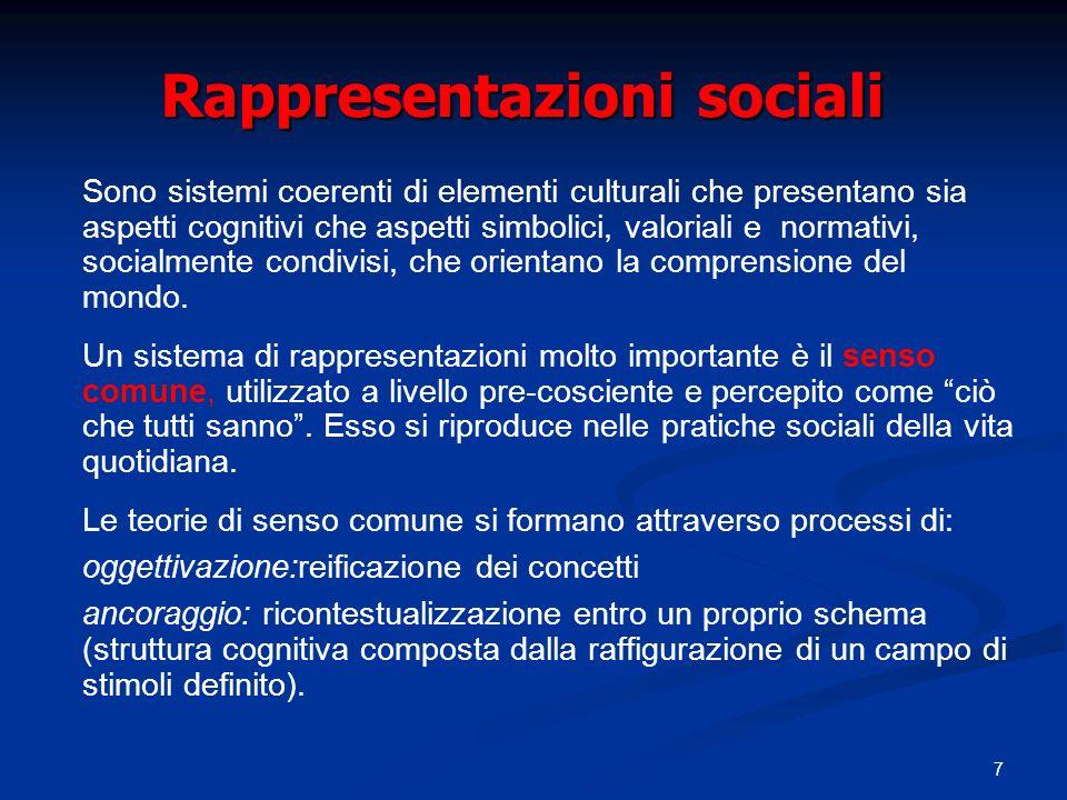 7 Rappresentazioni sociali Sono sistemi coerenti di elementi culturali che presentano sia aspetti cognitivi che aspetti simbolici, valoriali e normati