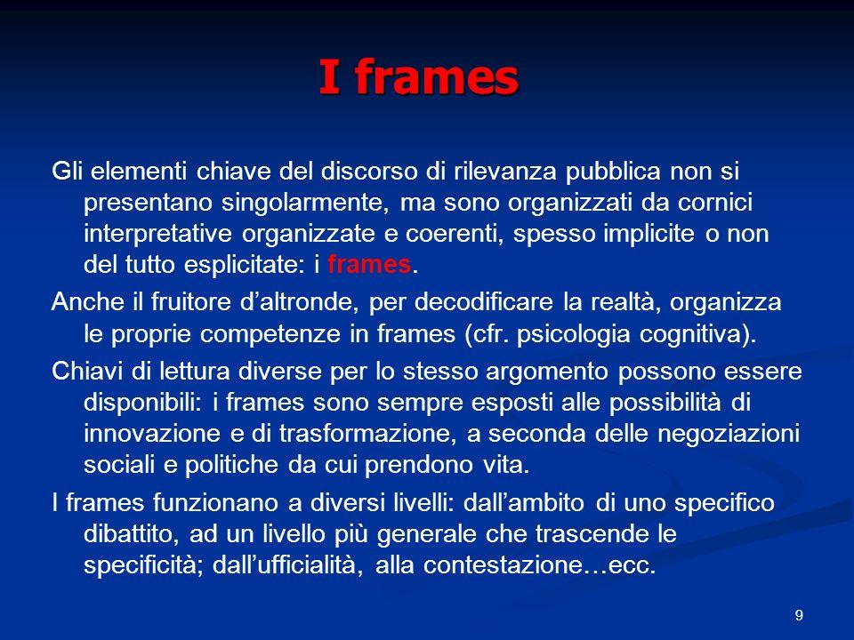 9 I frames Gli elementi chiave del discorso di rilevanza pubblica non si presentano singolarmente, ma sono organizzati da cornici interpretative organ