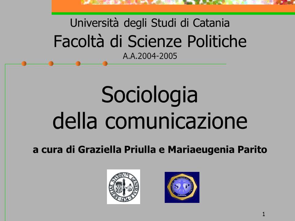 1 Università degli Studi di Catania Facoltà di Scienze Politiche A.A.2004-2005 Sociologia della comunicazione a cura di Graziella Priulla e Mariaeugen