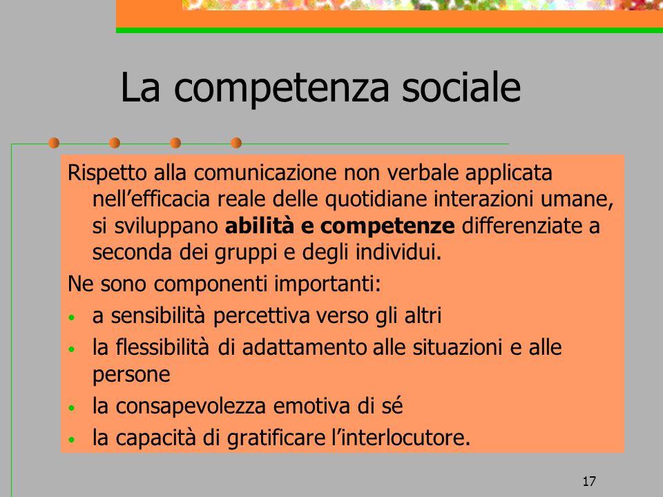 17 La competenza sociale Rispetto alla comunicazione non verbale applicata nellefficacia reale delle quotidiane interazioni umane, si sviluppano abili