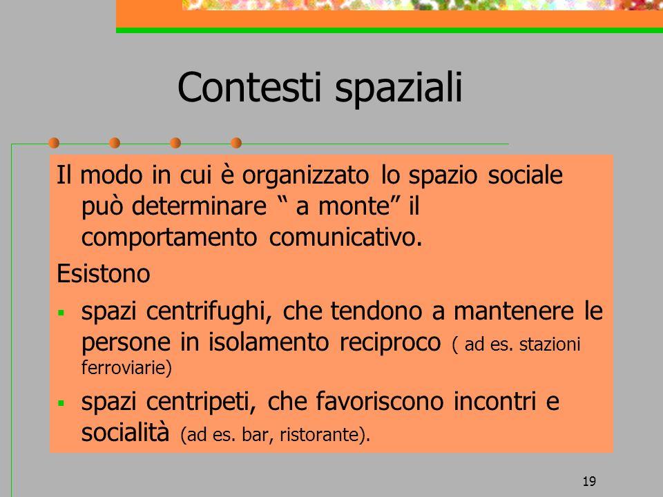 19 Contesti spaziali Il modo in cui è organizzato lo spazio sociale può determinare a monte il comportamento comunicativo. Esistono spazi centrifughi,