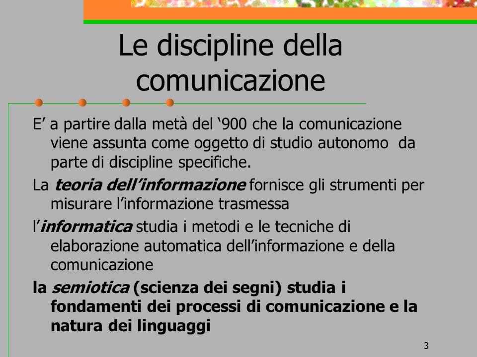 3 Le discipline della comunicazione E a partire dalla metà del 900 che la comunicazione viene assunta come oggetto di studio autonomo da parte di disc