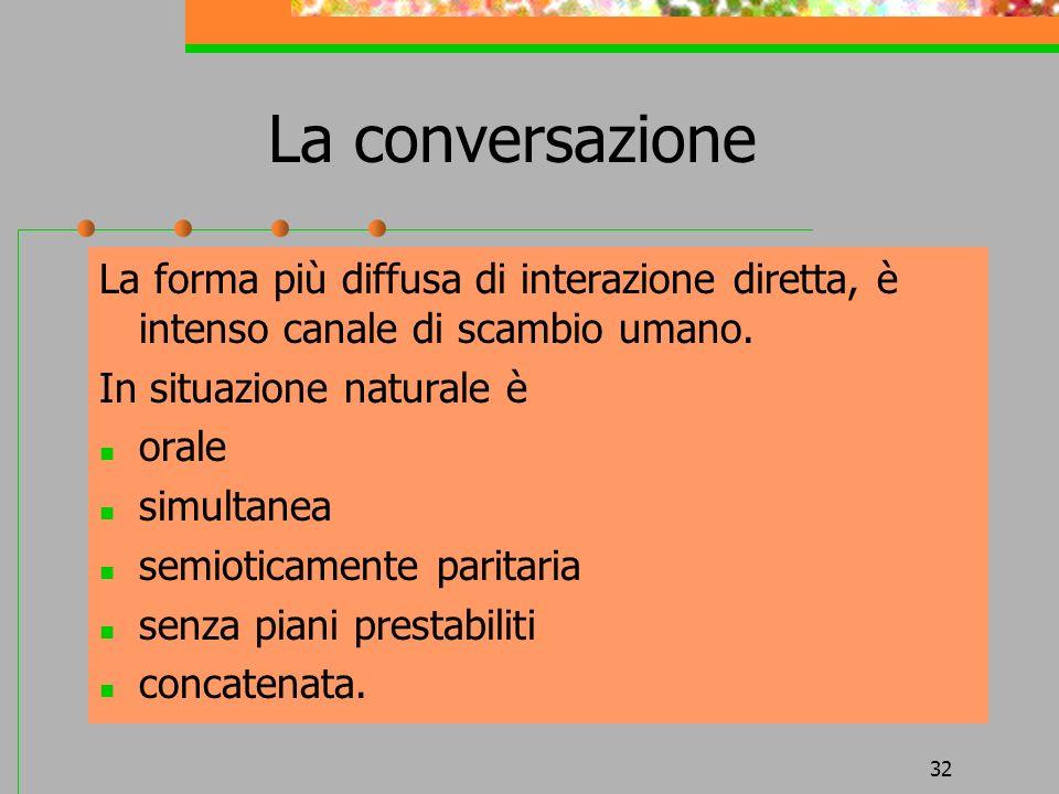 32 La conversazione La forma più diffusa di interazione diretta, è intenso canale di scambio umano. In situazione naturale è orale simultanea semiotic