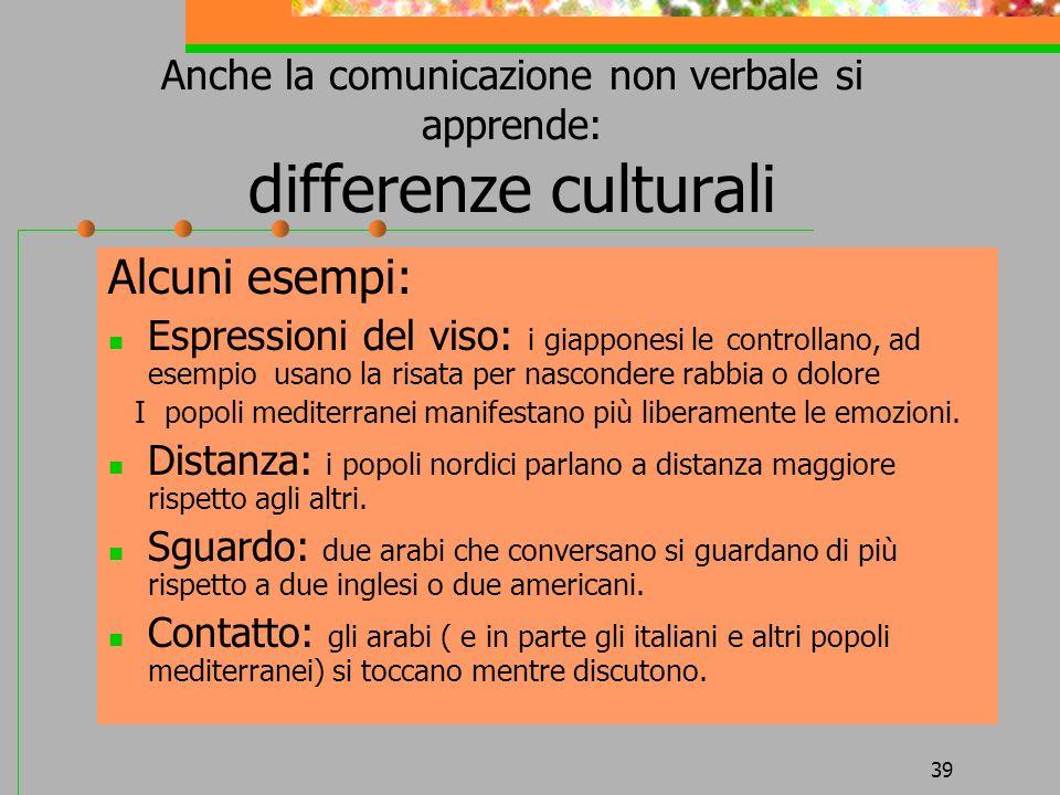 39 Anche la comunicazione non verbale si apprende: differenze culturali Alcuni esempi: Espressioni del viso: i giapponesi le controllano, ad esempio u