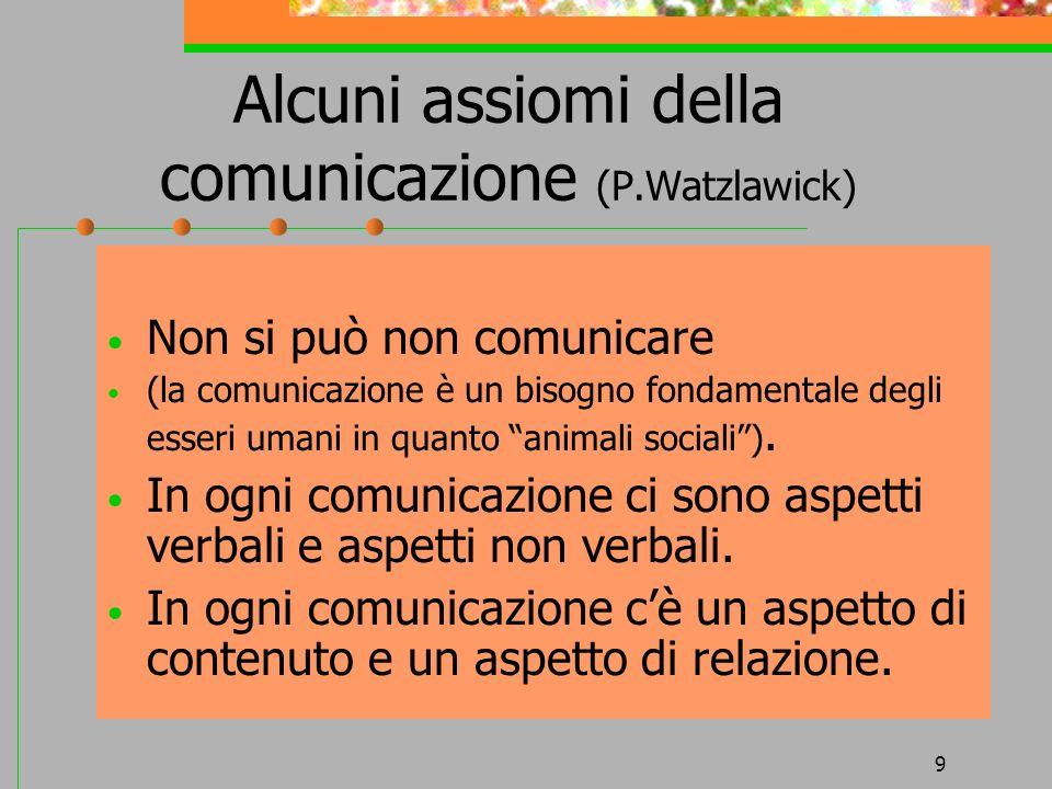 9 Alcuni assiomi della comunicazione (P.Watzlawick) Non si può non comunicare (la comunicazione è un bisogno fondamentale degli esseri umani in quanto