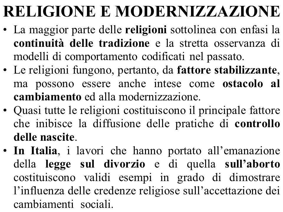 RELIGIONE E MODERNIZZAZIONE La maggior parte delle religioni sottolinea con enfasi la continuità delle tradizione e la stretta osservanza di modelli di comportamento codificati nel passato.