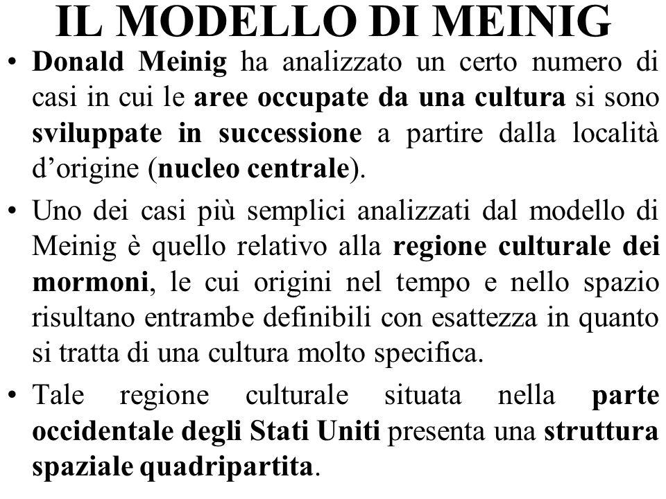 IL MODELLO DI MEINIG Donald Meinig ha analizzato un certo numero di casi in cui le aree occupate da una cultura si sono sviluppate in successione a partire dalla località dorigine (nucleo centrale).