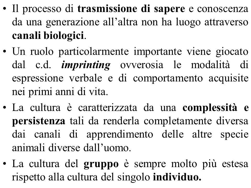 Il processo di trasmissione di sapere e conoscenza da una generazione allaltra non ha luogo attraverso canali biologici.
