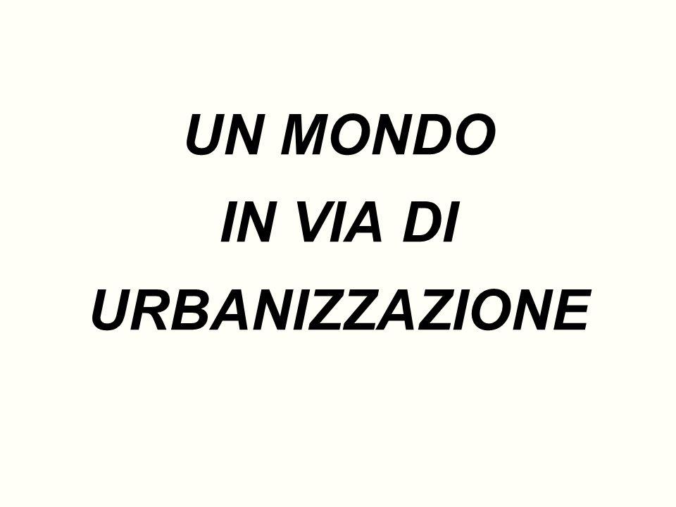 Lurbanizzazione 1800: 1 abitante su 40 è urbanizzato; 1980: 1 abitante su 4 è urbanizzato; Tendenze future: Curva logistica di urbanizzazione