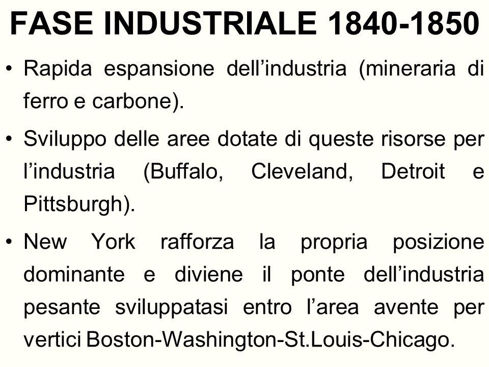 FASE INDUSTRIALE 1840-1850 Rapida espansione dellindustria (mineraria di ferro e carbone). Sviluppo delle aree dotate di queste risorse per lindustria