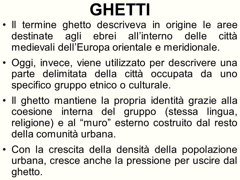 GHETTI Il termine ghetto descriveva in origine le aree destinate agli ebrei allinterno delle città medievali dellEuropa orientale e meridionale. Oggi,