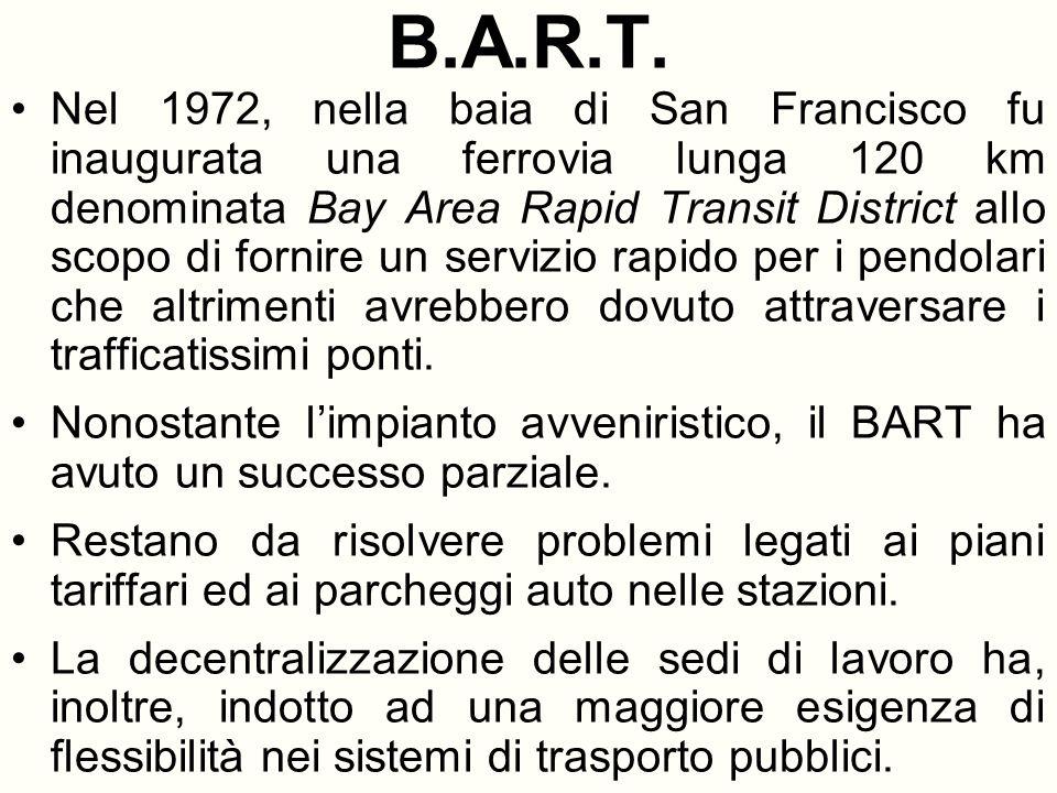 B.A.R.T. Nel 1972, nella baia di San Francisco fu inaugurata una ferrovia lunga 120 km denominata Bay Area Rapid Transit District allo scopo di fornir