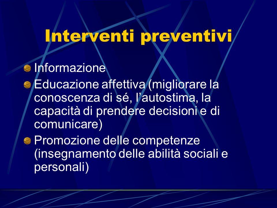 Interventi preventivi Informazione Educazione affettiva (migliorare la conoscenza di sé, lautostima, la capacità di prendere decisioni e di comunicare) Promozione delle competenze (insegnamento delle abilità sociali e personali)