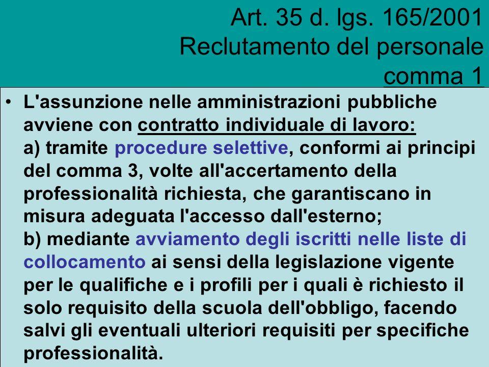 Art. 35 d. lgs. 165/2001 Reclutamento del personale comma 1 L'assunzione nelle amministrazioni pubbliche avviene con contratto individuale di lavoro: