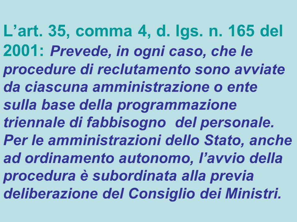 Lart. 35, comma 4, d. lgs. n. 165 del 2001: Prevede, in ogni caso, che le procedure di reclutamento sono avviate da ciascuna amministrazione o ente su