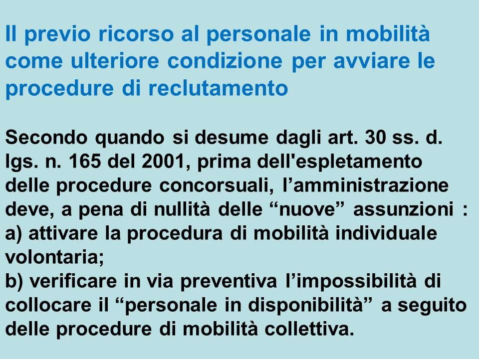 Il previo ricorso al personale in mobilità come ulteriore condizione per avviare le procedure di reclutamento Secondo quando si desume dagli art. 30 s