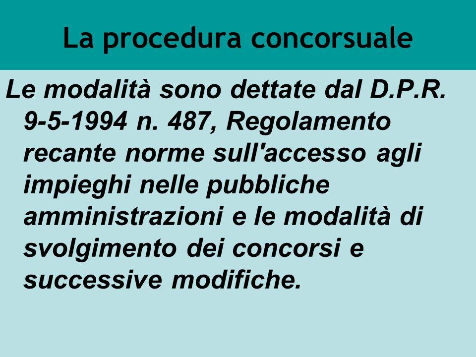 La procedura concorsuale Le modalità sono dettate dal D.P.R. 9-5-1994 n. 487, Regolamento recante norme sull'accesso agli impieghi nelle pubbliche amm