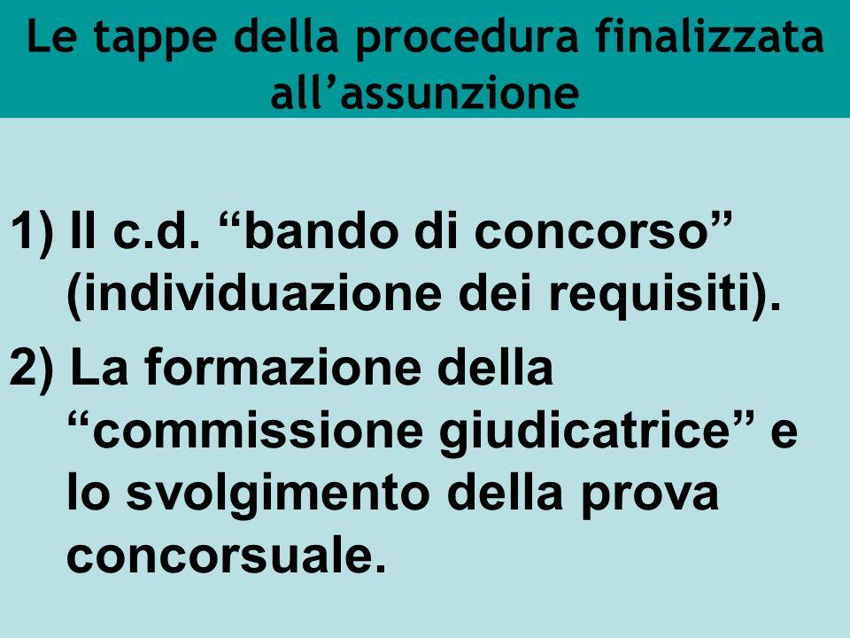 Le tappe della procedura finalizzata allassunzione 1) Il c.d. bando di concorso (individuazione dei requisiti). 2) La formazione della commissione giu
