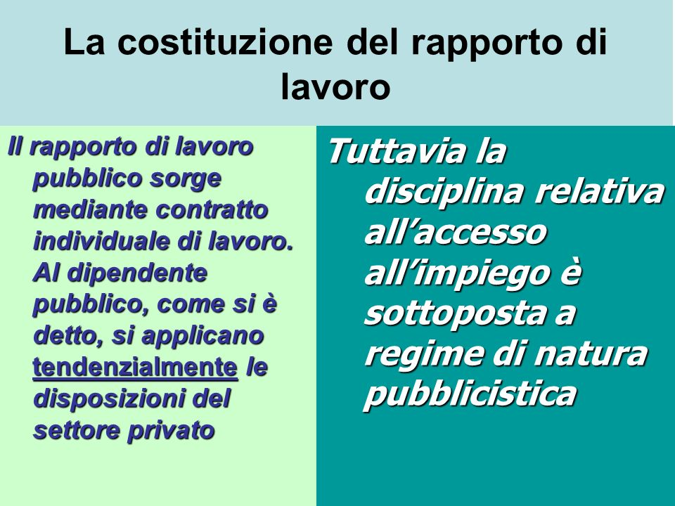 La costituzione del rapporto di lavoro Il rapporto di lavoro pubblico sorge mediante contratto individuale di lavoro. Al dipendente pubblico, come si