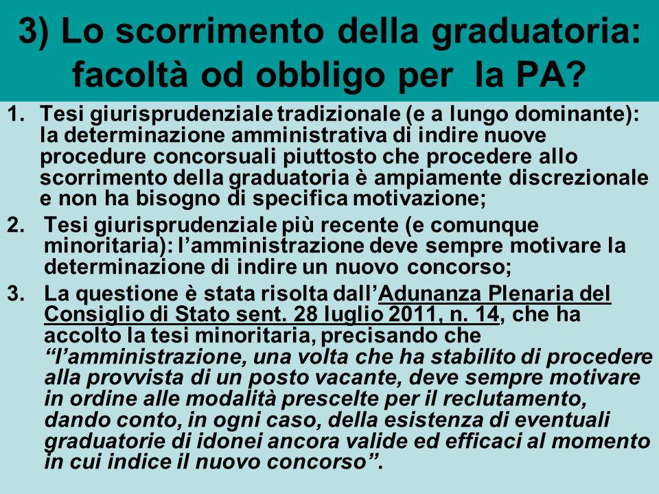 3) Lo scorrimento della graduatoria: facoltà od obbligo per la PA.