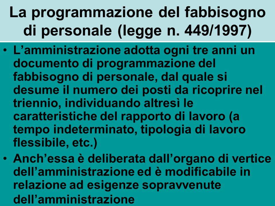 La programmazione del fabbisogno di personale (legge n. 449/1997) Lamministrazione adotta ogni tre anni un documento di programmazione del fabbisogno