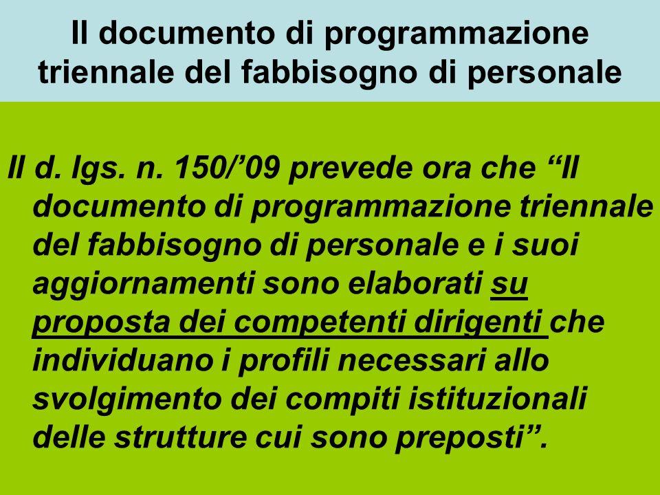 Il documento di programmazione triennale del fabbisogno di personale Il d. lgs. n. 150/09 prevede ora che Il documento di programmazione triennale del