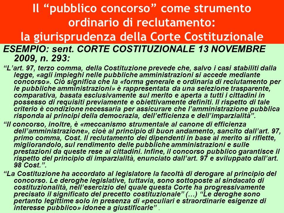 Il pubblico concorso come strumento ordinario di reclutamento: la giurisprudenza della Corte Costituzionale ESEMPIO: sent. CORTE COSTITUZIONALE 13 NOV