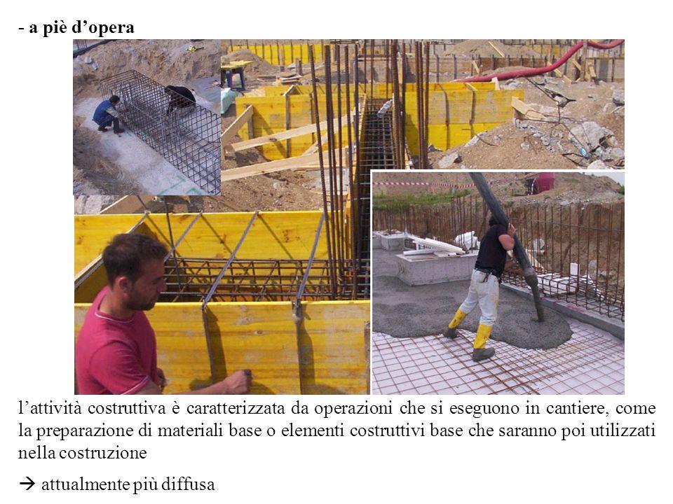 - a piè dopera lattività costruttiva è caratterizzata da operazioni che si eseguono in cantiere, come la preparazione di materiali base o elementi costruttivi base che saranno poi utilizzati nella costruzione attualmente più diffusa