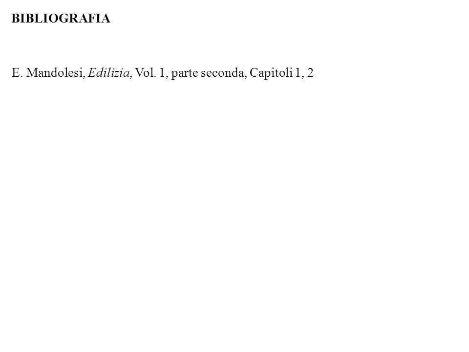 BIBLIOGRAFIA E. Mandolesi, Edilizia, Vol. 1, parte seconda, Capitoli 1, 2
