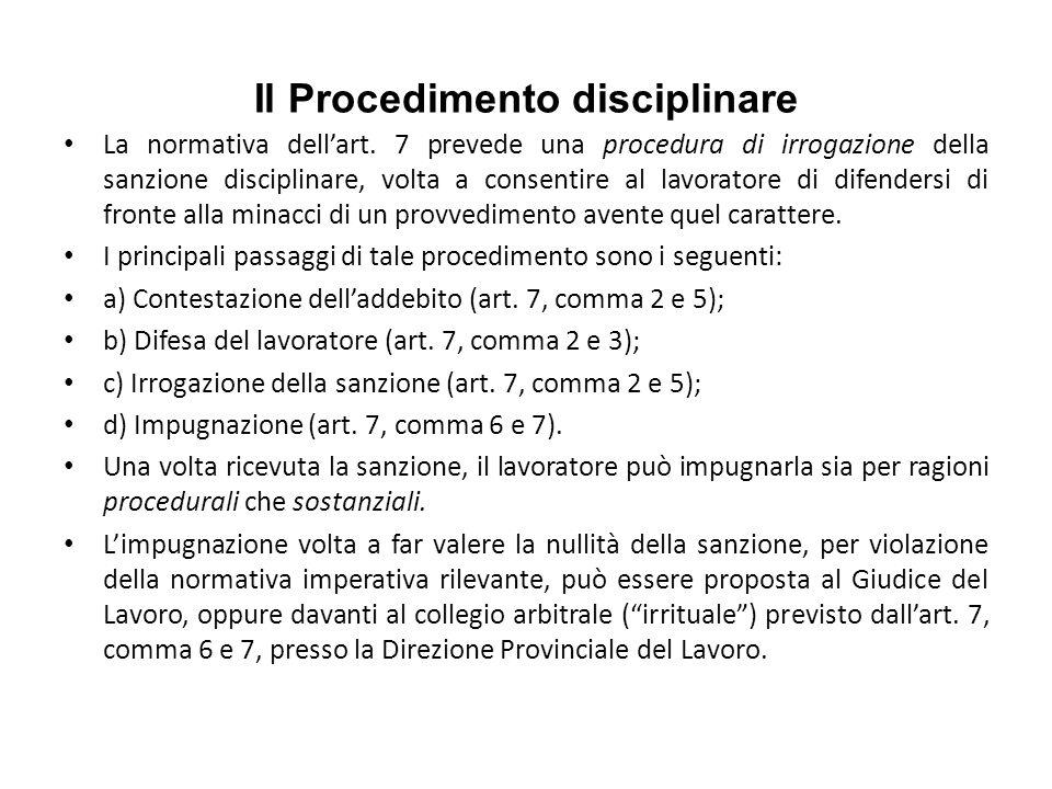 Il Procedimento disciplinare La normativa dellart.