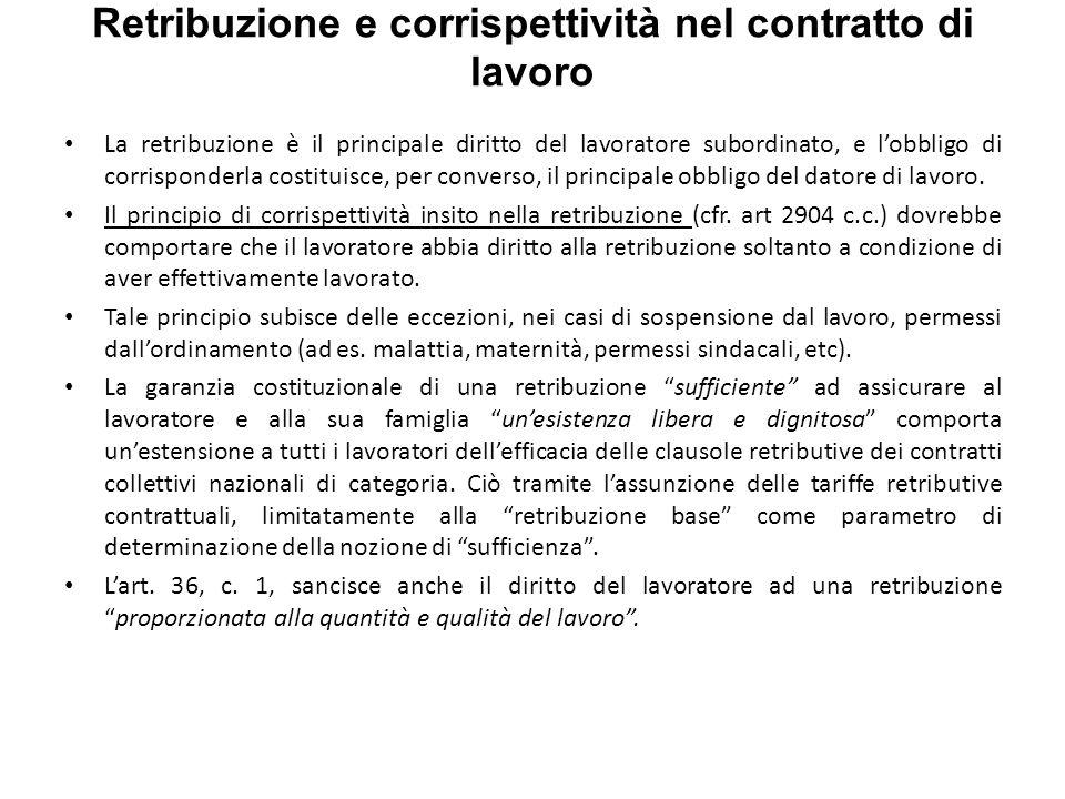 Retribuzione e corrispettività nel contratto di lavoro La retribuzione è il principale diritto del lavoratore subordinato, e lobbligo di corrisponderla costituisce, per converso, il principale obbligo del datore di lavoro.