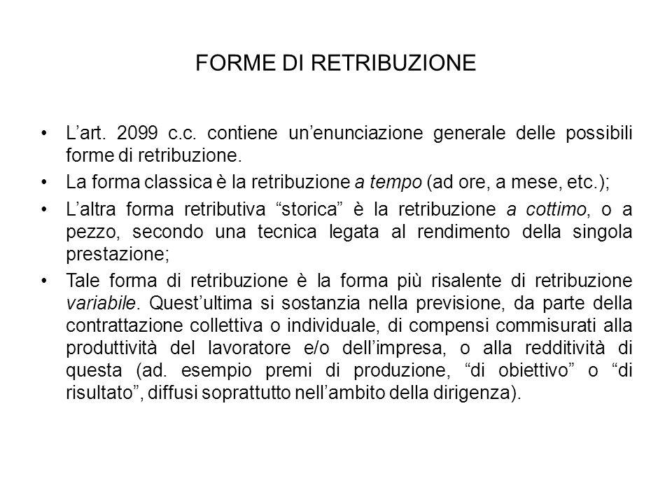 FORME DI RETRIBUZIONE Lart.2099 c.c.
