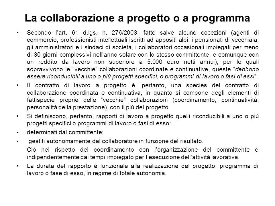 La collaborazione a progetto o a programma Secondo lart.