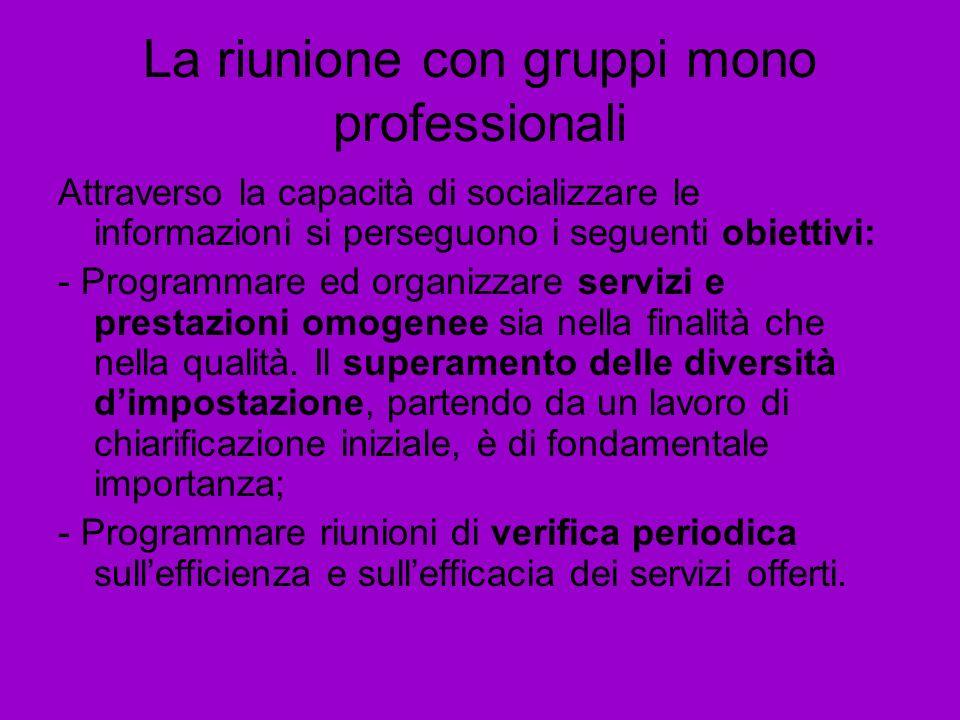 La riunione con gruppi mono professionali Attraverso la capacità di socializzare le informazioni si perseguono i seguenti obiettivi: - Programmare ed