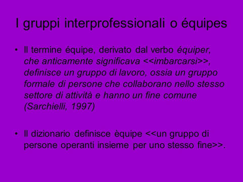 I gruppi interprofessionali o équipes Il termine équipe, derivato dal verbo équiper, che anticamente significava >, definisce un gruppo di lavoro, oss