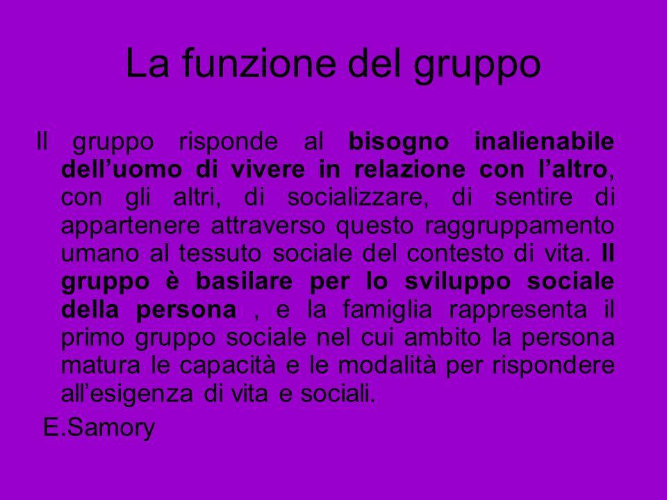 La funzione del gruppo Il gruppo risponde al bisogno inalienabile delluomo di vivere in relazione con laltro, con gli altri, di socializzare, di senti