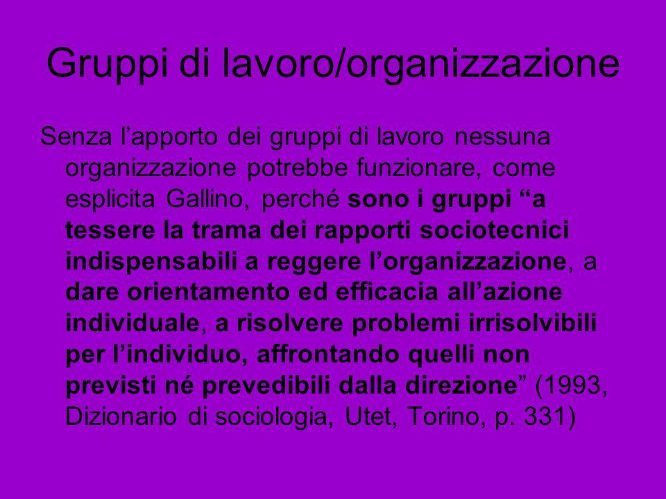 Gruppi di lavoro/organizzazione Senza lapporto dei gruppi di lavoro nessuna organizzazione potrebbe funzionare, come esplicita Gallino, perché sono i