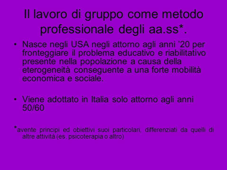 Il lavoro di gruppo come metodo professionale degli aa.ss*. Nasce negli USA negli attorno agli anni 20 per fronteggiare il problema educativo e riabil