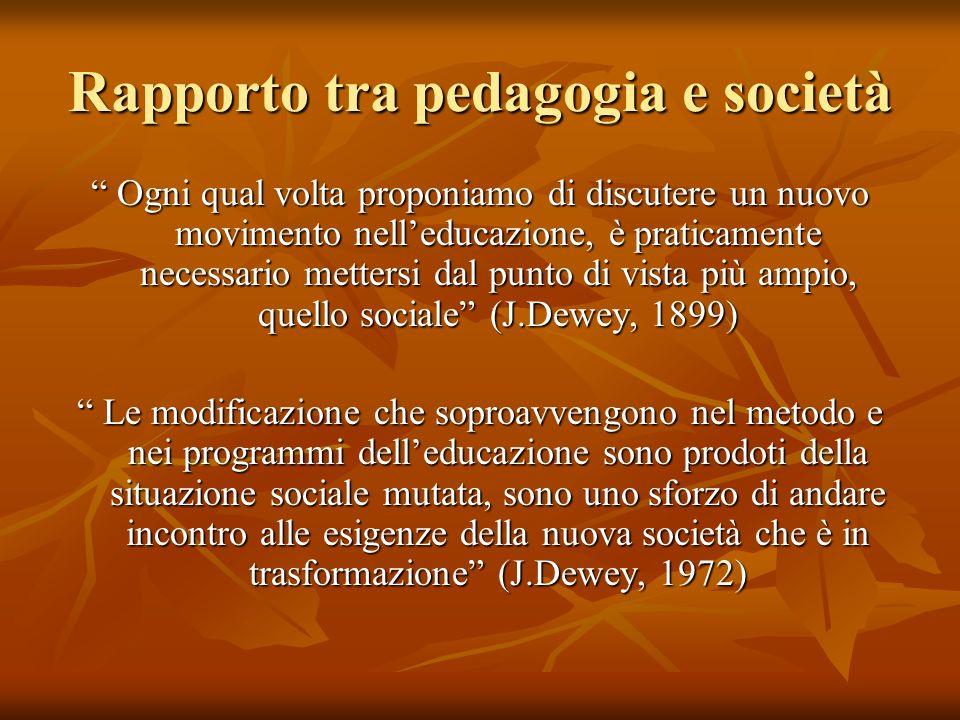 Rapporto tra pedagogia e società Ogni qual volta proponiamo di discutere un nuovo movimento nelleducazione, è praticamente necessario mettersi dal pun
