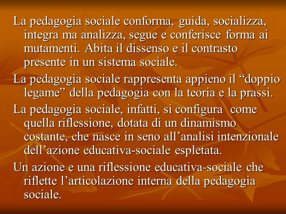 La pedagogia sociale conforma, guida, socializza, integra ma analizza, segue e conferisce forma ai mutamenti. Abita il dissenso e il contrasto present