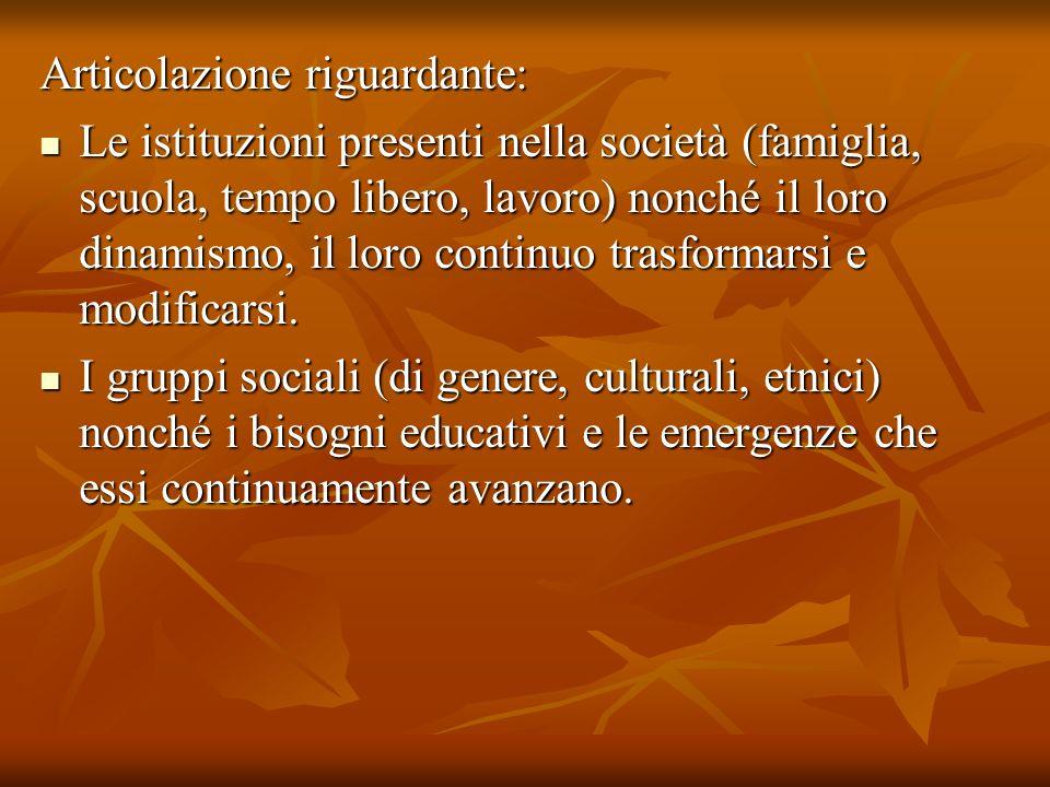 Articolazione riguardante: Le istituzioni presenti nella società (famiglia, scuola, tempo libero, lavoro) nonché il loro dinamismo, il loro continuo t