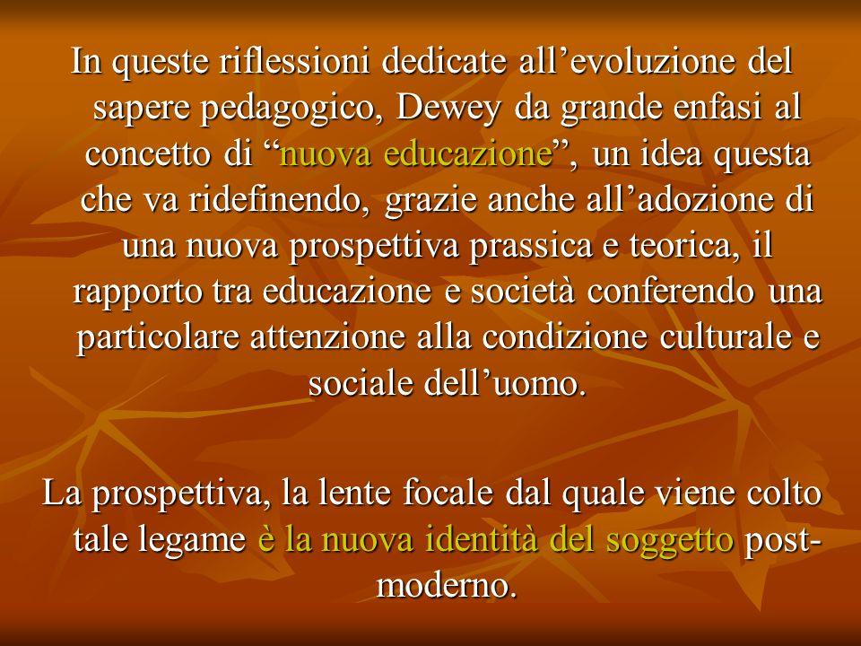 In queste riflessioni dedicate allevoluzione del sapere pedagogico, Dewey da grande enfasi al concetto di nuova educazione, un idea questa che va ride