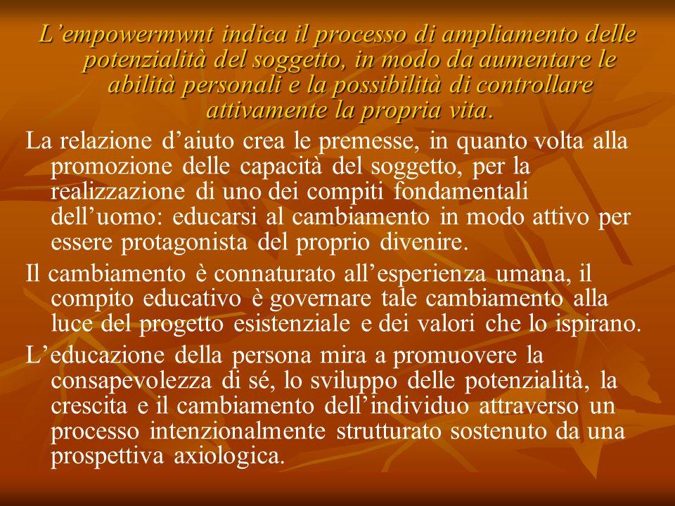 Lempowermwnt indica il processo di ampliamento delle potenzialità del soggetto, in modo da aumentare le abilità personali e la possibilità di controll