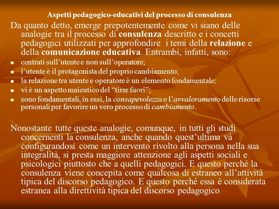 Aspetti pedagogico-educativi del processo di consulenza Da quanto detto, emerge prepotentemente come vi siano delle analogie tra il processo di consul