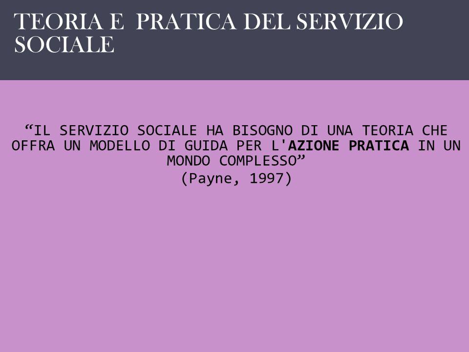 IL SERVIZIO SOCIALE COME … IL SERVIZIO SOCIALE HA BISOGNO DI UNA TEORIA CHE OFFRA UN MODELLO DI GUIDA PER L'AZIONE PRATICA IN UN MONDO COMPLESSO (Payn