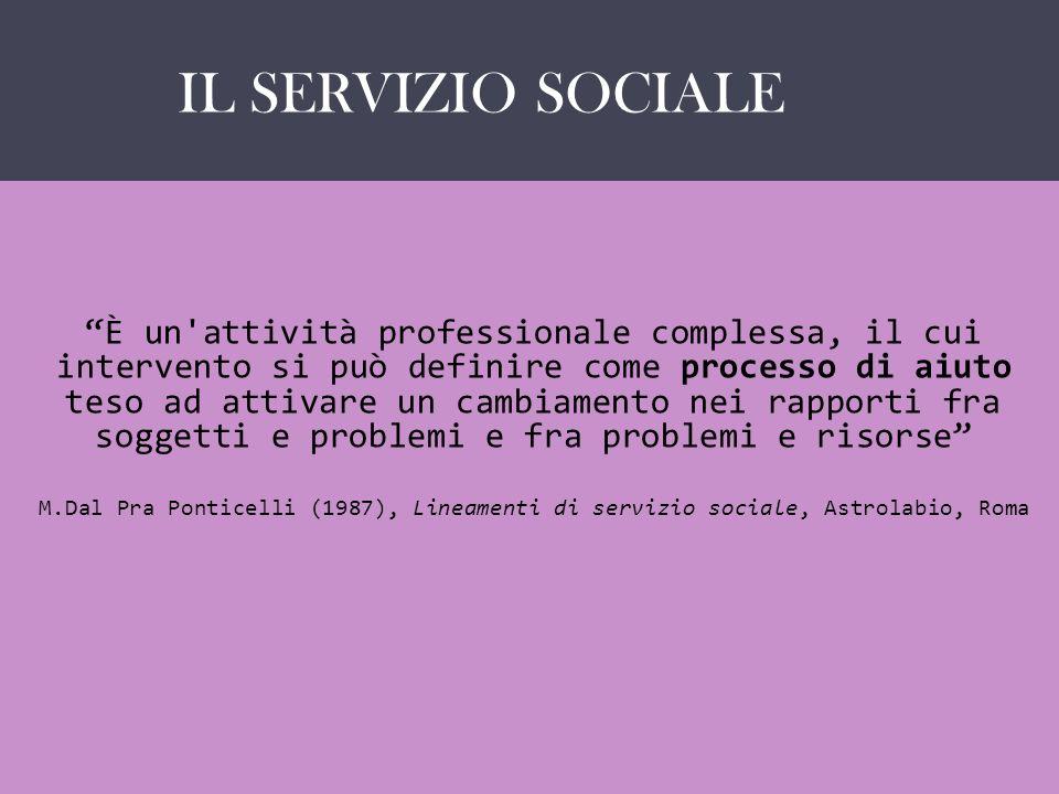 IL SERVIZIO SOCIALE COME … È un'attività professionale complessa, il cui intervento si può definire come processo di aiuto teso ad attivare un cambiam