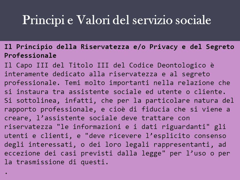 IL SERVIZIO SOCIALE COME … Il Principio della Riservatezza e/o Privacy e del Segreto Professionale Il Capo III del Titolo III del Codice Deontologico